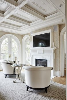 House Ceiling Design, Ceiling Design Living Room, House Design, Fireplace Seating, Bedroom Fireplace, Bedroom Seating, Living Room Seating, Waffle Ceiling, Bedroom With Sitting Area