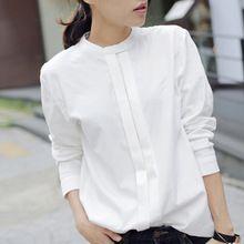 2016 mola camisas das mulheres Blusas coreano Blusas Plus Size senhoras elegantes OL algodão de manga comprida camisa branca para as mulheres(China (Mainland))