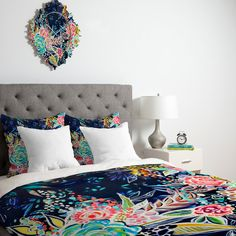 Stephanie Corfee Night Bloomers Duvet Cover #floral #pink #blue #green #color #home #decor #unique