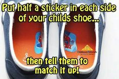 A great use for stickers in every shoe! Parent Hacks and Parent tips with Childcare Network The Working Parents Best Friend! Parenting Done Right, Parenting Advice, Kids And Parenting, Parenting Quotes, Baby Life Hacks, Useful Life Hacks, Mom Hacks, Raising Kids, Future Baby