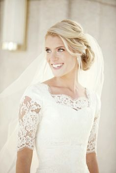 Lace elbow sleeve wedding dress