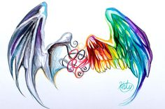 watercolor tattoo wing angel and devil
