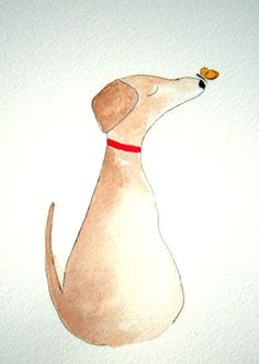 Winston - Dog with butterfly original watercolor, simple, whimsical, pen and ink, white dog, grey dog