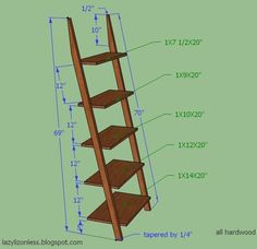 Ladder shelf measurements- almost exactly like the ones I love from Crate & Barrel (should I ever be brave enough to use power tools)