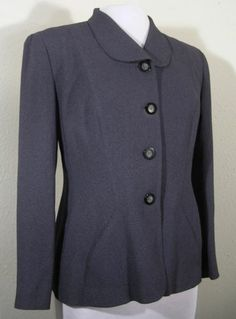 TAHARI Blazer Jacket Dark Gray Size 10 Petite Peter Pan Collar Career