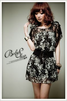 Stylish Lace Chiffon Splicing Short Sleeve Dress - BuyTrends.com
