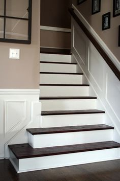 hardwood stairs-She took off the old carpet and painted and stained the wood underneath This would be good for the basement stairs Wainscoting Height, Wainscoting Styles, Wainscoting Nursery, Wainscoting Hallway, Wainscoting Kitchen, Basement Stairs, House Stairs, Stairs No Carpet, Carpet Diy