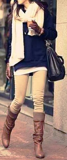 Casual Winter Outfit With Long Boots