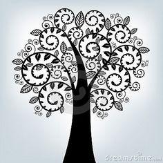 BLACK STYLIZED TREE. VECTOR