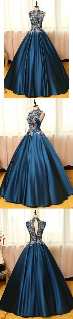 Ball Gown High Neck Floor-length Sleeveless Elastic Woven Satin Prom Dress/Evening Dress # JKL280