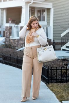 creamy beige outfit, Asos pants, Michael Kors bag, scarf, curvy fashion blogger for women over 35