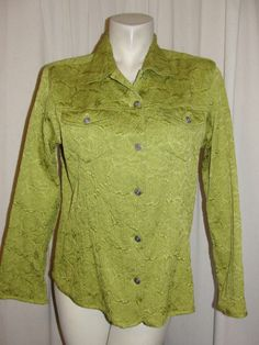 CHICO'S Jacket Top 12/14 Green Textured Button Down LS Stretch Blazer Size 2 L #Chicos #BasicJacket