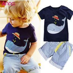 Summer Kids Children's cotton short-sleeved suit boys suits t-shirt + pants 2pcs striped short baby Whale Cartoon 2016