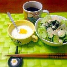 今朝の自宅モーニング☕️  お天気悪そうだけど〜あんまり寒くないし頑張ろ(^з^)-☆ - 30件のもぐもぐ - グリーンサラダ&柚子ヨーグルト☕️ by manilalaki