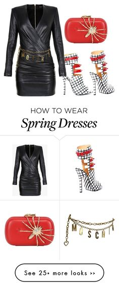 """Alejandra G. Fiona Multi"" by alejandragshoes on Polyvore featuring Balmain, Corto Moltedo and Moschino"