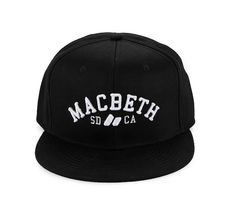 Matthew Vegan Hat by Macbeth. Black hat with flat cap, snap back closure, macbeth embroidery logo in front, adjustable closure to fit your head perfectly. Cool cap to wear everyday, from school to skate park. http://www.zocko.com/z/JEyL7