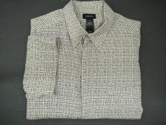 CLAIBORNEMens shirt XL  SS short sleeve Button up beige black extra large rayon #Claiborne #ButtonFront