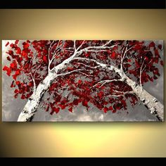 Large Palette Knife Painting Red Grey White Birch Trees Modern Landscape On Canvas Gallery Size By Osnat: