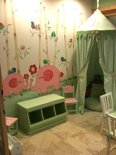 Love this playroom! Need a Muralist? Call us at Tutti Bambini Bedroom Murals, Kids Bedroom, Kids Rooms, Baby Rooms, Kids Wall Murals, Murals For Kids, Indoor Play Areas, Dream Kids, Room Closet
