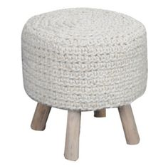 Montana Hand Knitted Wool + Wood Stool Ivory | Ivory | 40x40cm by French Classic on Brands Exclusive