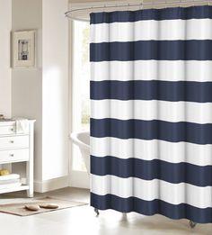 Amazon.com   Fabric Shower Curtain: Nautical Stripe Design (Navy And White)