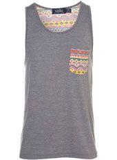 Grey Aztec Back Print Vest