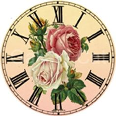 Vintage Rose reloj Collage Digital hoja 2 pulgadas por GalleryCat - I have this clock, and I love it