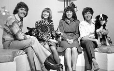 Blue Peter presenters from my childhood, left to right Peter Purves, Petra, Lesley Judd, Jason, Valerie Singleton, John Noakes and Shep. I was gutted when Petra died and sent off for a photo of her from the show.