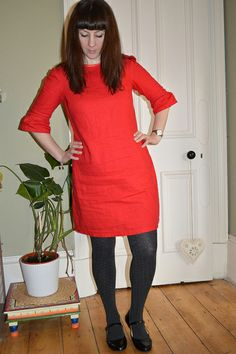 Colette Patterns Laurel in red linen by Nuala