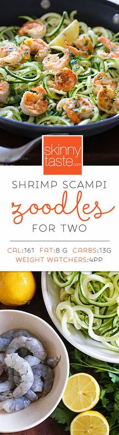 Shrimp Scampi Zoodles for Two – a quick and easy spiralized meal! Shrimp Scampi Zoodles for Two – a quick and easy spiralized meal! Zoodle Recipes, Spiralizer Recipes, Fish Recipes, Seafood Recipes, Paleo Recipes, Low Carb Recipes, Dinner Recipes, Cooking Recipes, Healthy Shrimp Recipes
