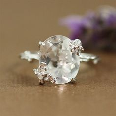 Sterling Silver Oval White Quartz Floral Twig Ring by goldandhoney, $136.00
