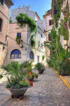 Beautiful street in Sitges, Catalunya, Spain