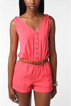 UrbanOutfitters.com > Kimchi Blue Henley Romper - StyleSays