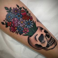 traditional bouquet tattoo - edit skull