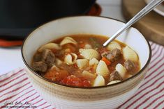 This beef and vegetable soup is perfect for a cold day! Mix it up with beef, potatoes, noodles, and vegetables for a hearty meal on a cold day.