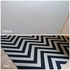 Chic and Cheap Lifestyle: DIY Hand Painted Chevron Rug/ HTM Alfombra en Zig Zag