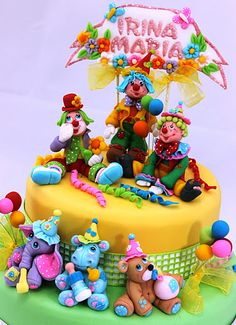 viorica's Cakes: Christening Party Cake with clowns