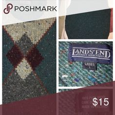 """Wool Sweater Vest Made in Ireland. dark hunter green with gray and some maroon argyle pattern.  100% Wool  Measurements; shoulders 15""""  pit2pit  17""""  length 21"""" Lands' End Sweaters"""