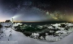 """Astrophotographer Adam Woodworth captured a star-filled night sky over a lighthouse in Maine. He writes in an email message to Space.com: """"I'd been hoping to get a Milky Way shot at Portland Head Light for a couple of years now, but I never got out there early enough in the year to capture the Galactic Center before it was too far south for this location. I didn't have a pano[rama] in mind for this originally but as I was planning the shoot I thought I'd give it a try. I haven't tried…"""
