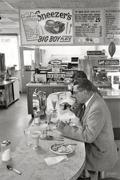 """gourmands: """"Frank Bauman - Packers coach Vince Lombardi at lunch counter, Green Bay, Wisconsin, """""""
