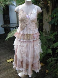 upcycled dress... Use the lace dress I have just add to it.
