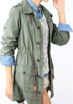 #Chicwish Armygreen Military Style Hooded Parka Coat - Outers - Retro, Indie and Unique Fashion