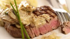 Fillet of Beef with Wild Mushroom Cream Sauce - Perfect served with chips or my favourite, a garlic and herb mash Creamy Mushrooms, Wild Mushrooms, Stuffed Mushrooms, Stuffed Peppers, Steak Recipes, Real Food Recipes, Cooking Recipes, Beef Medallions, Mushroom Cream Sauces