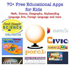 best free educational apps for kids, free math websites, free science websites for kids, free math facts sites for kids,