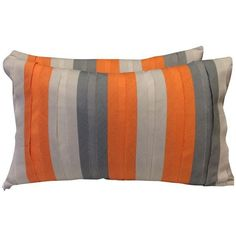 Bolsters in Orange & Grey - A Pair ($130) ❤ liked on Polyvore featuring home, home decor, throw pillows, striped throw pillows, stripe throw pillows, grey accent pillows, grey home decor and linen throw pillows