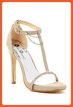 Chainlink Glitter Heeled Sandal Strappy Open Toe Sexy Heels Women Beige-6.5 - Sandals for women (*Amazon Partner-Link)
