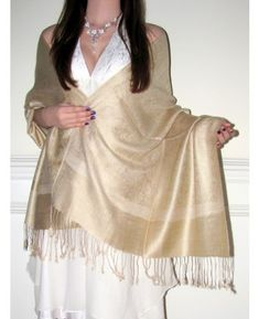 """Product No: 4307 Beautiful Beige #Paisley #Bridal #Wedding & Bridesmaid #Shawl #Stole #Wrap in #Pashmina & #Silk is just perfect! This Elegant Beige Bridal Bridesmaid Wrap on #sale is gorgeous with exquisite inlaid paisley designing at #YoursElegantly.  Size: 28"""" x 76"""" Sale: $24.99"""