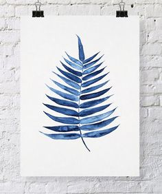 Palm Leaf Tropical Wall Art Watercolor Print by driftwoodinteriors, $37.50