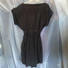 Express, XS, black spring dress Express, XS, black dress, black beaded floral on shoulders, right stretchy waist, flows at bottom Express Dresses Midi