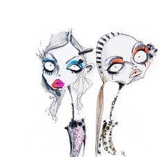 illustration by Jamie Lee Reardin Fashion Illustration Template, Face Illustration, Watercolor Illustration, Fashion Design Portfolio, Homemade Art, Whimsical Art, Face Art, Art Inspo, Illustrators